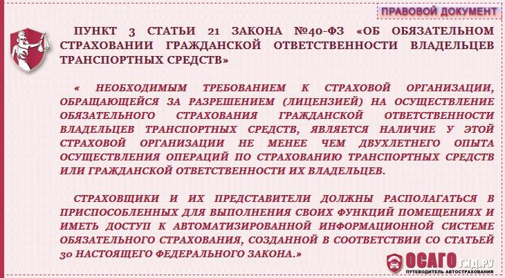 закон N 40-ФЗ ст.21 п.3