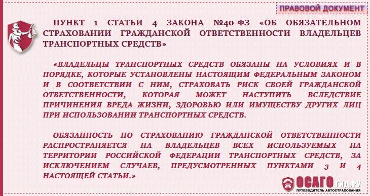 п. 1 ст. 4 закона №40-ФЗ