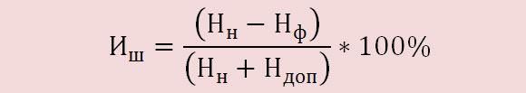 Формула расчета величины износа шин