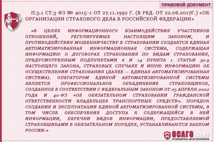 п. 3.1 статья 3 ФЗ № 4015-1 от 27.11.1992 г.