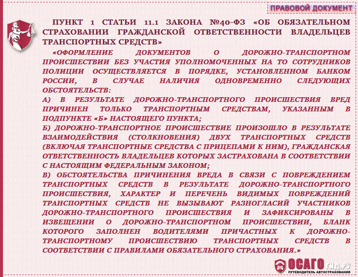 п.1 статья 11.1 закон №40-ФЗ