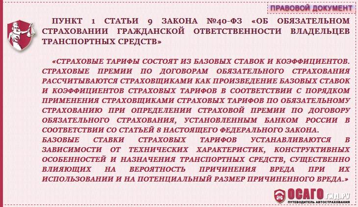 п.1 статья 9 закон №40-ФЗ