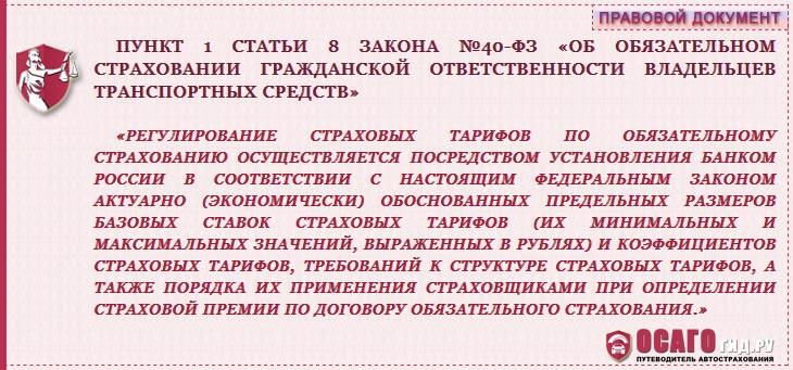 п.1 статья 8  №40-ФЗ