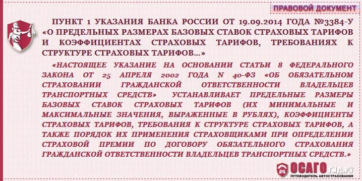 п.1 указания ЦБ №3384-У
