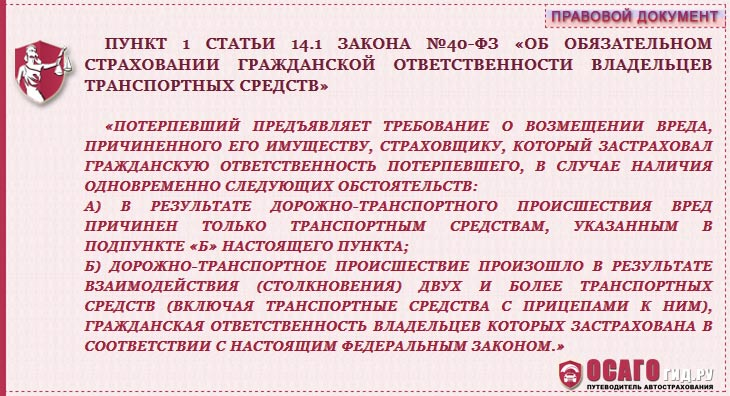 п.1 статья 14.1 закон №40-ФЗ