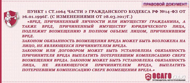 п. 1 статья 1064 часть 2 ГК РФ №14-ФЗ